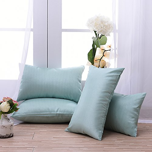 4 Pieces Pony Dance Rectangular Faux Silk Light Weight Dyed Stripes Throw Cushion Covers Pillow Shams for Nap,Tint Mint,12
