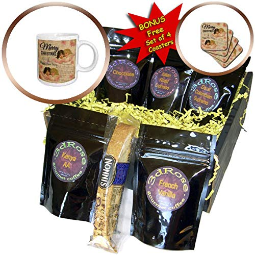 3dRose Andrea Haase Holiday Illustration - Retro Cherubs On Music Sheets With Christmas Typography - Coffee Gift Baskets - Coffee Gift Basket (cgb_291694_1)