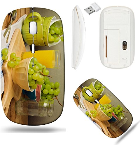 Liili Wireless Mouse White Base Travel 2.4G Wireless Mice with USB Receiver, Click with 1000 DPI for notebook, pc, laptop, computer, mac book IMAGE ID: 21186579 Still life with grapes on wooden table