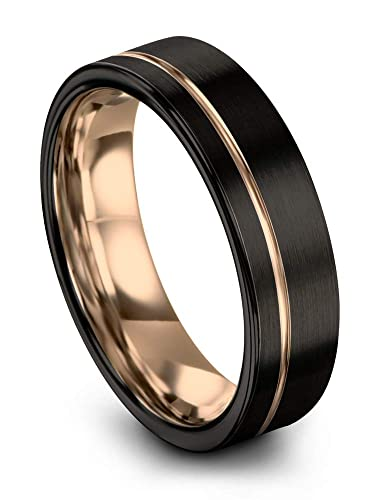Midnight Rose Collection Tungsten Wedding Band Ring 7mm For Men Women 18k Rose Yellow Gold Plated Flat Cut Off Set Line Black Brushed Polished