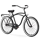 "sixthreezero Around The Block Men's Single-Speed Beach Cruiser Bicycle, 26"" Wheels, Matte Black with Black Seat and Grips"