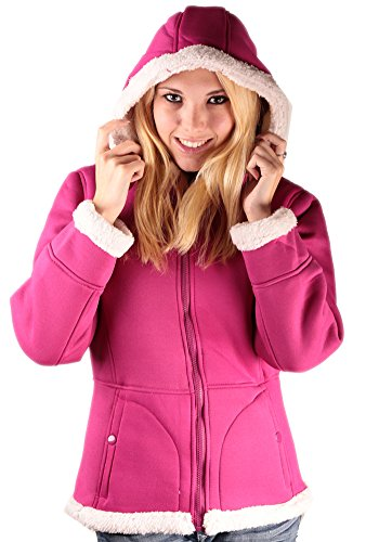 Woodland Supply Co. Women's Sherpa Lined Hooded Fleece Zip Jacket,Small,Mulberry Pink/Cream