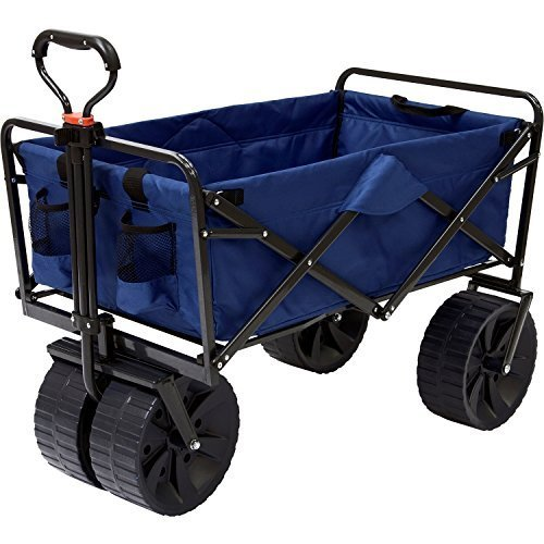 Mac Sports Heavy Duty Collapsible Folding All Terrain Utility Beach Wagon Cart, Blue/Black