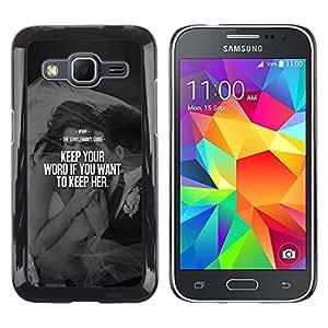 Paccase / SLIM PC / Aliminium Casa Carcasa Funda Case Cover para - keep her love word heartbreak couple - Samsung Galaxy Core Prime SM-G360