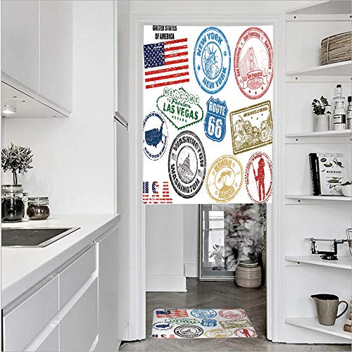 3D Printed Linen Textured French 1 Panel Door Curtains and 1pcs Doormat Kitchen Mat Rug,America Las Vegas New York San Francisco HawaiiSingle Panel door curtain 29.5