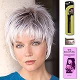 Billie by Noriko, Wig Galaxy Hair Loss Booklet, Wig Cap, & Magic Comb (Bundle - 4 Items) (Silver Stone)