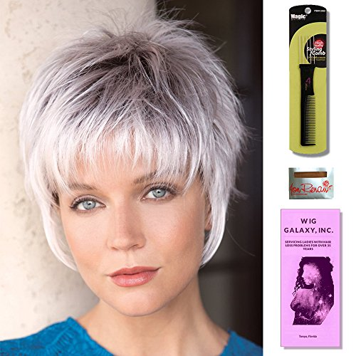 Billie by Noriko, Wig Galaxy Hair Loss Booklet, Wig Cap, & Magic Comb (Bundle - 4 Items) (Silver Stone) by Noriko