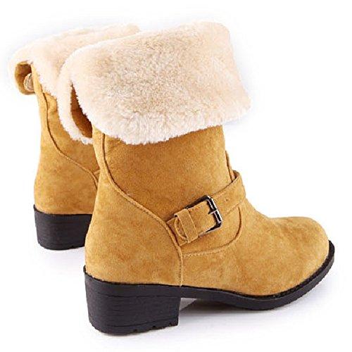 Taoffen Women Fahion Flat Suede Half Boots Caldi Stivali Da Neve Con Fibbia Cinturino Giallo