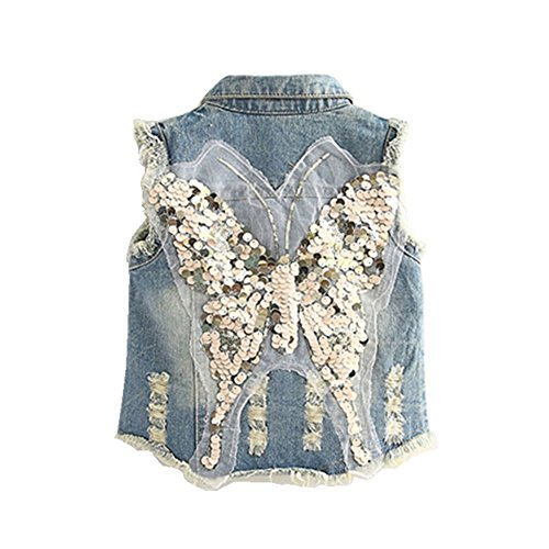Mud Kingdom Girls' Sequin Butterfly Denim Vest Button-down 6T Blue by Mud Kingdom (Image #2)