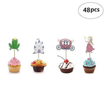 Amazon Com Imagitek 48 Pack Frog Prince Princess Theme Cake Toppers