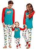 YT couple Family Matching 2 PCS Deer Print Christmas Pajamas Sets Dad Mom Kid O-Neck Long Sleeve T-Shirt+Long Pants Sleepwear (Red, Kid/4-5T)