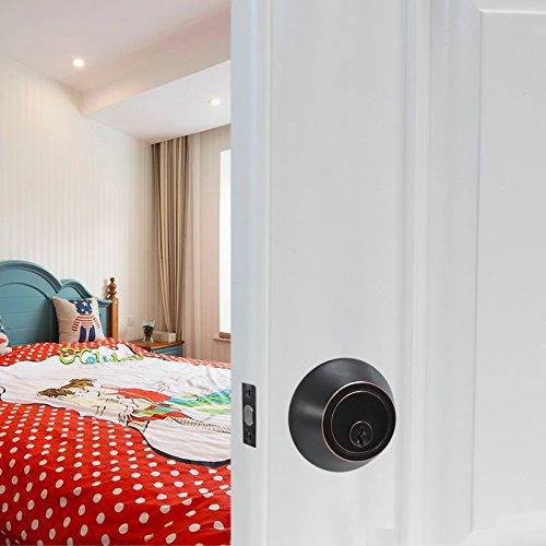 gobrico doble cilindro cerrojo con llave ambos lados Casa Puerta Ronda pomo con cerradura de seguridad de bloqueo aceitado bronce: Amazon.es: Bricolaje y ...