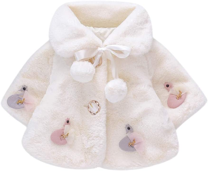 Capa de chal acolchada de piel para niños, abrigos de niña y niña ...