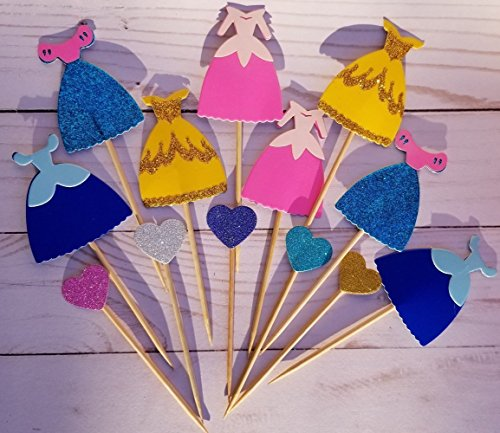 (LAYLABELLE Set of 13 Princess Dress and Hearts Glitter Cupcake, Treat toppers)
