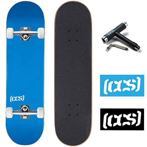CCS Logo and Natural Wood Skateboard Completes - Fully Assembled (Blue, 8.25) ()