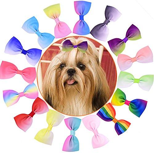 20pcs/pack Yagopet Dog Hair Clips 2.8 inches gradient ramp Bows Dog Topknot Bows Polka Dots Cute Dog Pet Hair Clips Cute Dog Hair Bows Pet Grooming Products Dog Hair Bows Topknot -