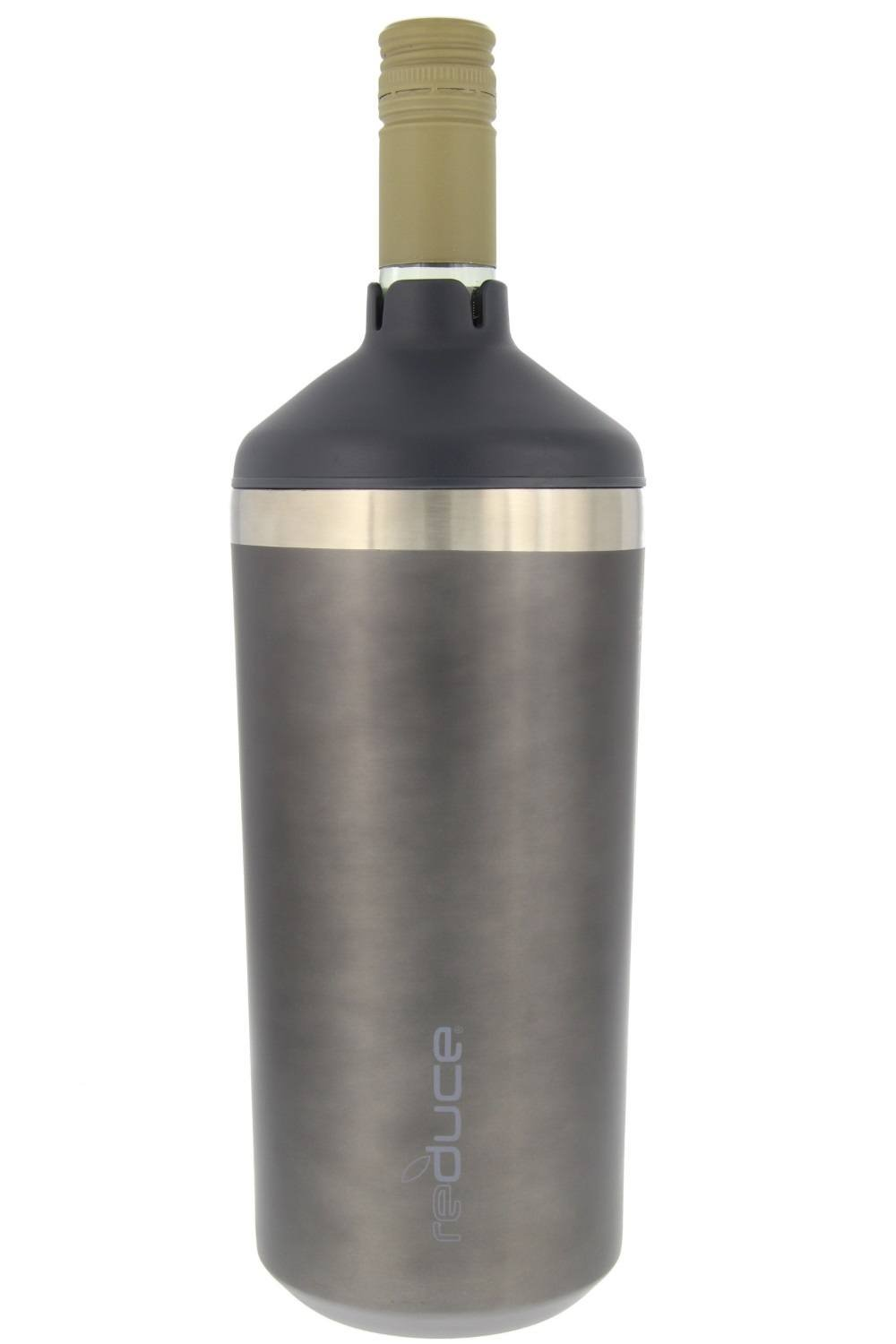 Portable Wine Bottle Cooler by REDUCE-Stainless Steel, Insulated Chiller to Keep Wine at the Perfect Temperature, No Ice Required-Ideal for Outdoor Summer Parties, Fits Most Wine Bottles – Charcoal