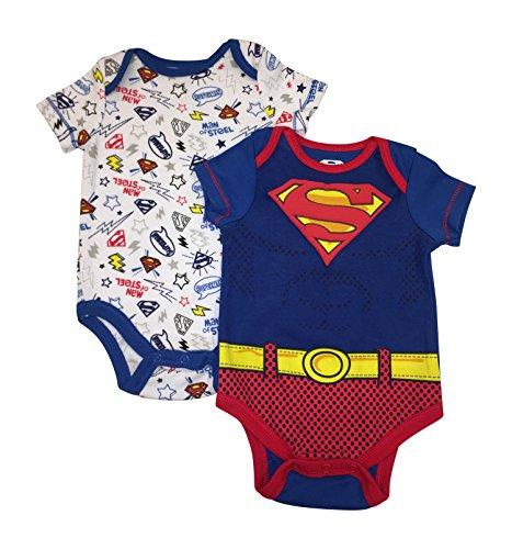 Superman DC Comics Infant Boys Puff Print Shield 2 Piece Onsie Bodysuit Set 0-9 Months (3/6 Months) -