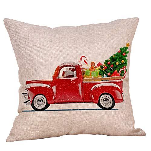 (Topdo 8 Styles Square Christmas Pillow Cotton Linen Snowman Christmas Tree Christmas Deer Santa Claus Pattern Merry Christmas Decorative Sofa Throw Pillow-Style 8)