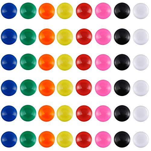 Patelai 48 Pieces Mini Fridge Magnets Round Magnetic Button Whiteboard Magnets Office Magnets, 8 Colors ()