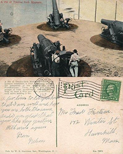 - A PIT OF 12 INCH MORTARS 1917 ANTIQUE POSTCARD