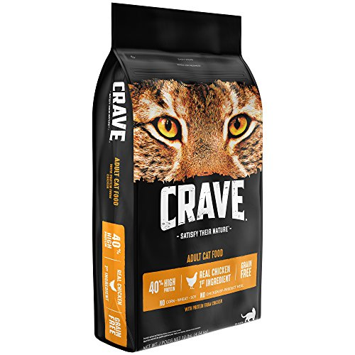 - Crave Grain Free With Protein From Chicken Dry Adult Cat Food, 10 Pound Bag