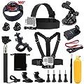 Luxebell Accessories Kit for AKASO EK5000 EK7000 4K WIFI Action Camera Gopro Hero 5/Session 5/Hero 4/3+/3/2/1
