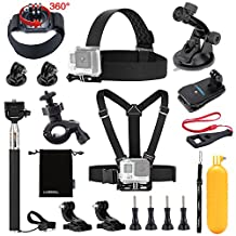 Luxebell 13-in-1 Essentials Accessories Kit for Gopro Hero 4 Session Black Silver Hero+ LCD 3+/3/2 Camera and Sjcam Sj4000 Sj5000 - Chest Mount Harness / Head Strap / Float Grip / Selfie Stick