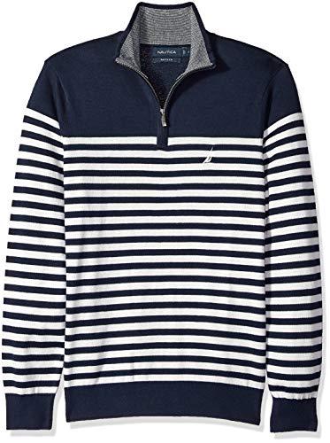 Nautica Men's Long Sleeve 1/4 Zip Sweater, Navy, (Nautica 1/4 Zip Sweater)
