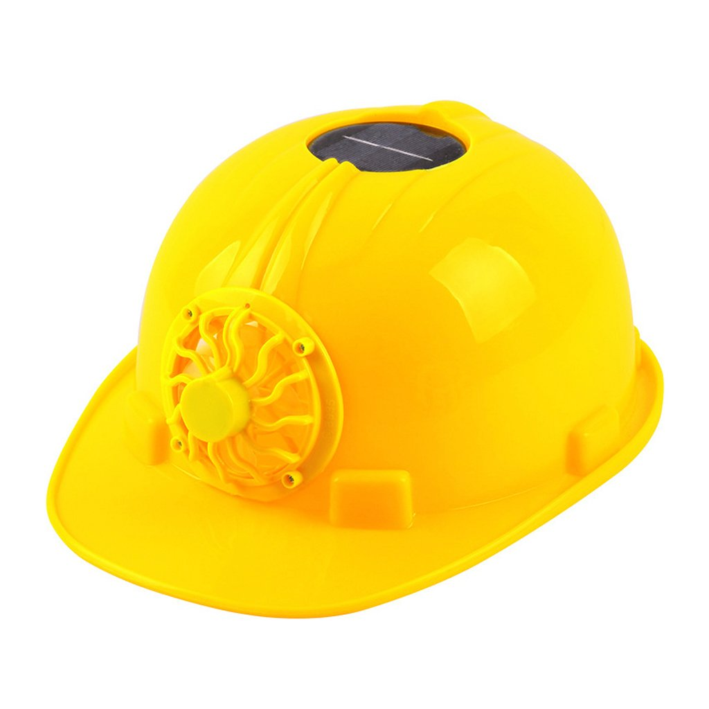 Fucung Solar Power Cooling Fan Safety Helmet Hard Work Hat with Solar Panel Fan Workplace Safety Cap, Yellow