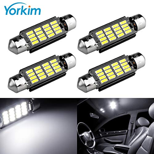 Yorkim 578 Festoon LED Bulb 41mm 42mm, 578 LED Bulb White Super Bright 41mm 42mm Canbus Error Free 16-SMD 4014 Chipset, 578 Dome Light Led, LED Interior Light MAP Light 211-2 212-2 LED Bulb, Pack of 4