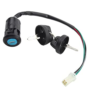 51VpO7a%2BbDL._SY355_ amazon com goofit 4 wires ignition switch key set with cap for 50cc
