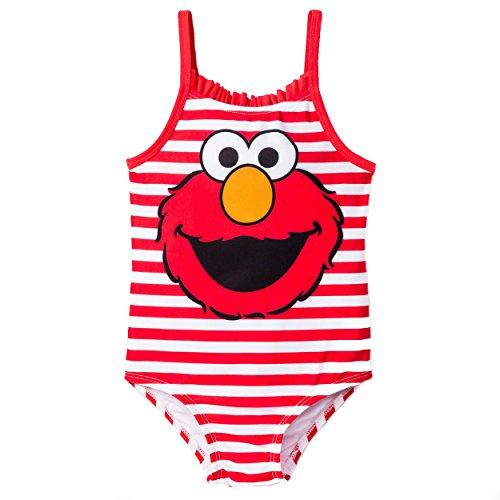 Sesame Street Elmo Girls Swimwear Swimsuit (18 Months, Red Stripe Elmo)