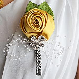 S_SSOY Boutonniere Bridegroom Groom Artificial Flower Corsage Men's Boutonniere Groomsmen Best Man Boutineer with Pin for Wedding Homecoming Prom Suit Decor Gold Pack of 4