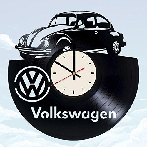 Black Clock Beetle - Volkswagen Beetle Vinyl Wall Clock Automobile Unique Gifts Living Room Home Decor