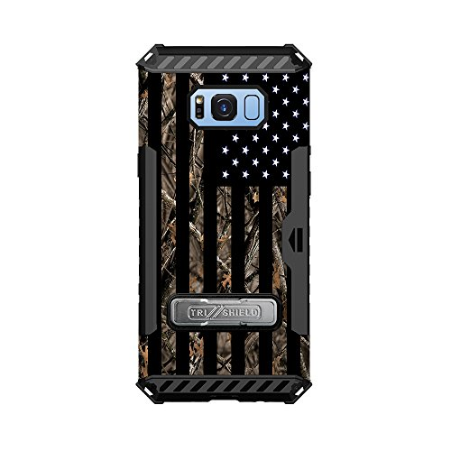 Flag Shield Protector Case - Samsung Galaxy S8 Trishield Hybrid Case with Kickstand Screen Protector and Card Slot by InfoposUSA Camouflage USA Flag