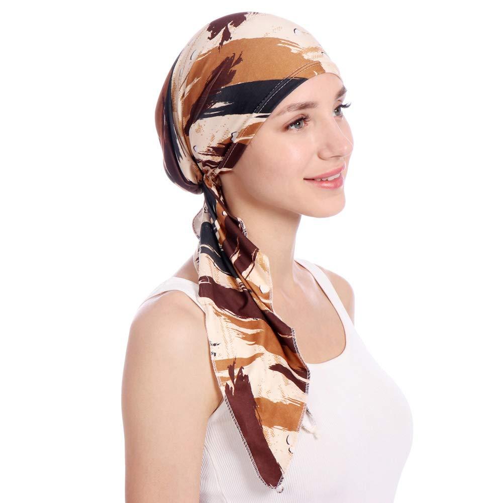 shengyuze Fashion Floral Printed Breathable Women Head Wrap Hat Muslim Hijab Turban Decor - Rose Red by shengyuze (Image #6)