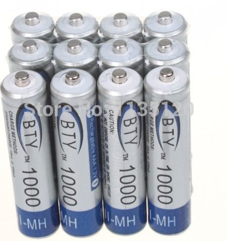 UPC 802516591788, 12x AAA 1000mAh 1.2V Ni-MH Rechargeable battery AAA BTY Cell for MP3 RC Toys