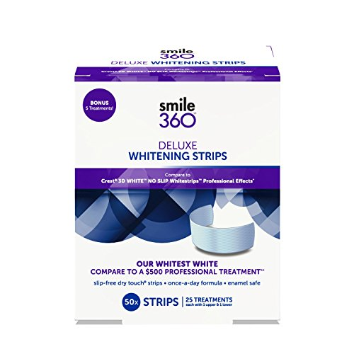 Smile 360 Deluxe Teeth Whitening Strips, 20 Day Treatment + 5 Bonus Treatments, 50 Count