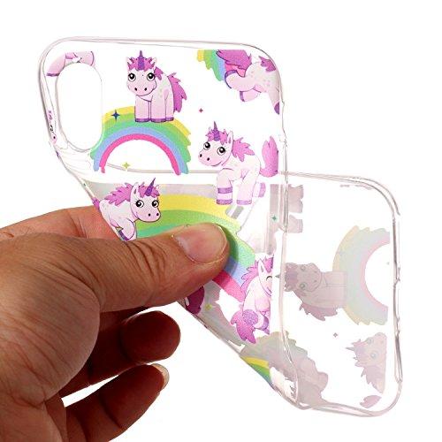 Artfeel iPhone X Hülle,iPhone X Dauerhaft TPU Tasche,Ultra Durchsichtig Niedlich Prägung 3D Farbmalerei Design [Buch Katze] Muster Stoßfeste Weiche Bumper Zurück Schütz Handyhülle für iPhone X 5.8 Zol Regenbogen Pferd