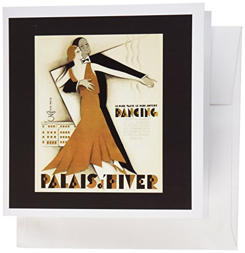 3dRose image of art deco couple dancing with French words - Greeting Cards, 6 x 6 inches, set of 6 (gc_179467_1)