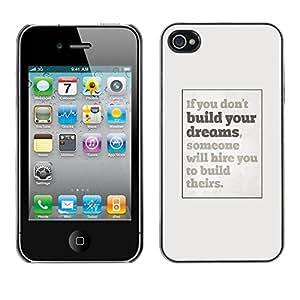 TopCaseStore / la caja del caucho duro de la cubierta de protección de la piel - Inspiring Poster Grey Inspiring - Apple iPhone 4 / 4S