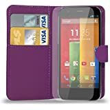 Motorola Moto G - Leather Wallet Case Cover Pouch + Screen Protector & Polishing Cloth ( Wallet Purple )