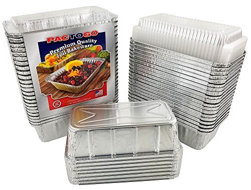 Pactogo 2 lb. Aluminum Foil Loaf/Bread Pan Tins w/Clear Dome Lid (Pack of 500 Sets)