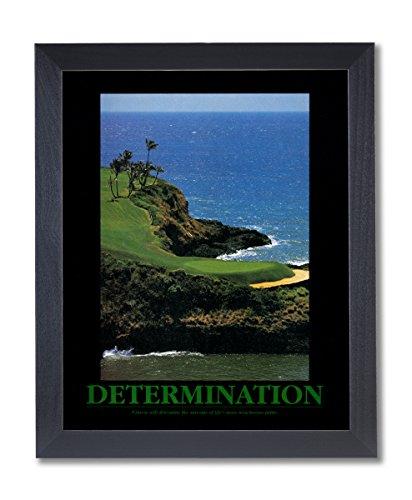 Golf Motivational Picture - DETERMINATION Motivational Ocean Golf Picture Black Framed Art Print