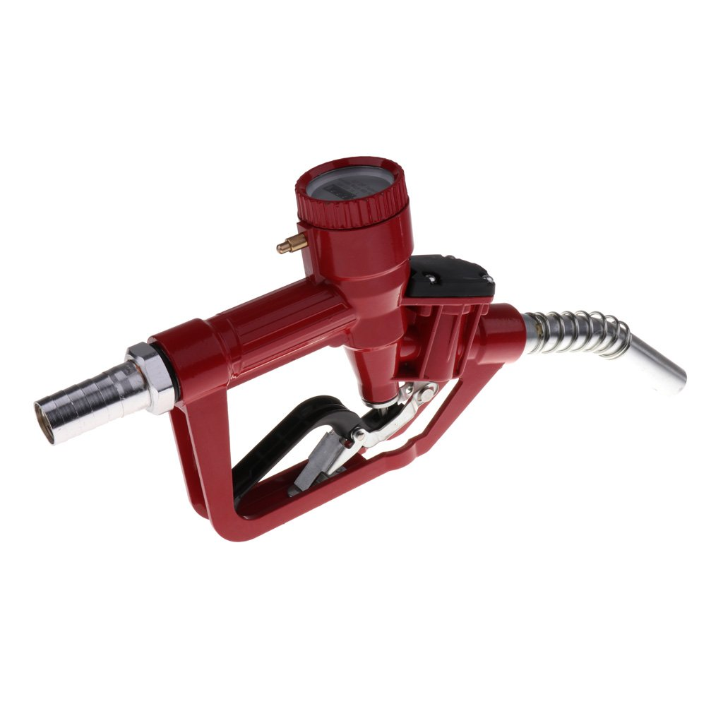 D DOLITY 1'' Nozzle Petrol Oil Delivery Gun with Electronic In-line Flow Meter - Red, 345x190x60mm by D DOLITY (Image #6)