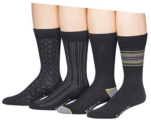 Buffalo David Bitton Men's Thin Stripes Crew Socks, Black, Sock Size:10-13/Shoe Size: 6-12 (Pack of - Men Buffalo For