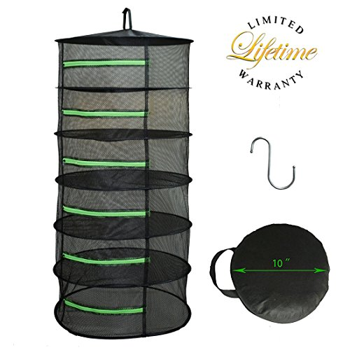 Herb Drying Rack Net Dryer 6 Layer 2ft Black W/Green Zippers Mesh Hydroponics by Hydgooho