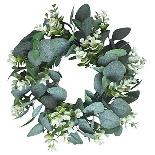 Kapmore Eucalipto Artificial Guirnalda Planta, 12,99″ Corona de Navidad Eucalyptus Guirnaldas para Navideñas Fiesta de Bodas Fondo Pared Decoración