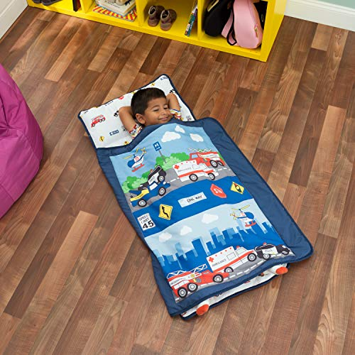 - Everyday Kids Toddler Nap Mat with Removable Pillow -Fire Police Rescue- Carry Handle with Fastening Straps Closure, Rollup Design, Soft Microfiber for Preschool, Daycare, Sleeping Bag -Ages 2-4 years